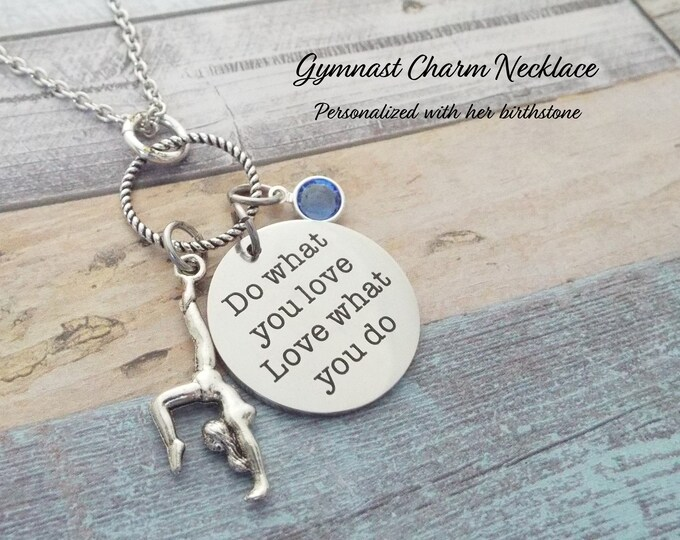 Gymnast Necklace, Gift for Gymnast, Personalized Gift, Gymnast Gift, Sports Jewelry, Girls Sports Gift, Handmade Necklace, Charm Necklace