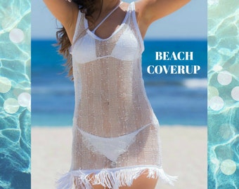 HECK YEAH FASHIONS: Easy, Breezy White Sheer Stripe Mesh Beach Coverup w/Fringe Hem Trim, Sleeveless
