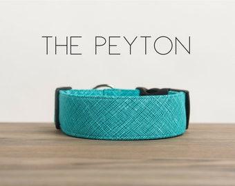"Modern Turquoise Geometric Crosshatch Dog Collar ""The Peyton"""