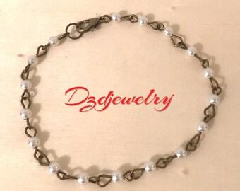 Pearl Bead Bracelet, Pearl Bracelet, White Bracelet, Antique Brass, Bead Bracelet, Czech Glass, Bohemian Bracelet, Boho Bracelet, Gift