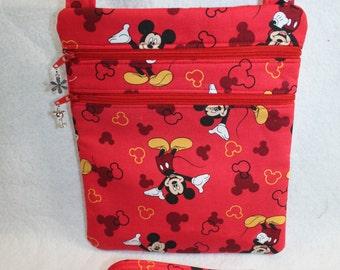 Handcrafted Crossbody Bag Mickey Themed Fabric    FREE SHIP