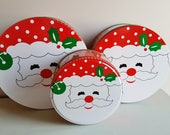 Set of 3 Nesting Holiday Tins NEW IN BOX- Jolly Santa Face, Cookie Tins- 3 Piece Set- Red, Holly Leaves, Baking Gift Giving, Hostess Gift