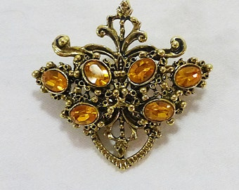 Vintage brooch pin gold tone yellow rhinestone glass jewelry