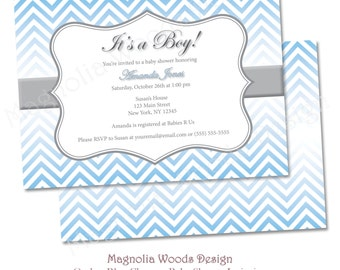 Ombre Blue Chevron Baby Shower Invitation, Boy Baby Shower Invitation, Chevron Baby Shower Invite - Printable Digital File (Print Your Own)