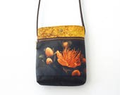 Orange flower shoulder bag, handbag pouch, crossbody bag with leather handle
