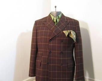 Carnaby MOD Vintage 60s Jacket Brown Windowpane wool 60s DB jacket Peaked lapels Crazy Lining M 40