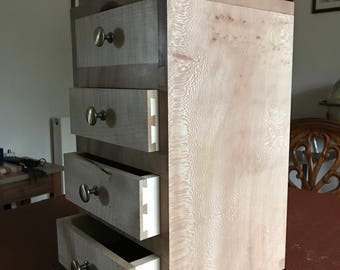 Hand made London plane and rippled Sycamore tall boy jewellery box.