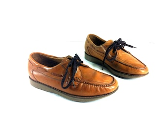 70's Leather Florsheim Boat Shoes 7 - Leather Deck Shoes 7 - Lace Up Loafers 7
