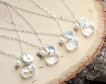 Bridesmaid Necklace Gift Set of FIVE, 5 Sterling Silver Initial Necklaces - Personalized Jewelry - Swarovski Crystal, Bridal Party