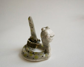 Gideon the Ring Worm - Jewelry Ring Holder - gray grey green black dots - unique ceramic art figure - cute ooak original design by Art Farm