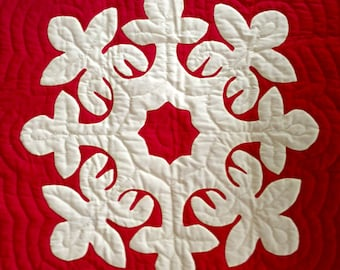 """Hawaiian quilt - wood rose pattern - hand appliquéd & hand quilted - 25 3/4"""" x 26 1/2"""" - red and yellow - vintage 1970s"""