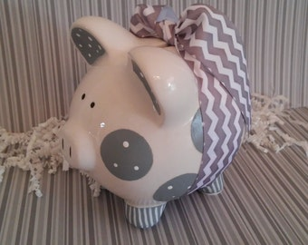 Piggy Bank Gray Personalized and Hand Painted
