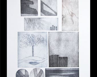 printmaking, black and white print, the ice queens garden, large mono print, modern print, abstract print, nature print