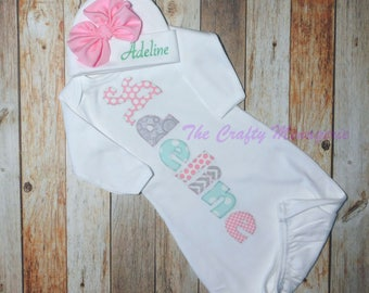 Baby Girl Gown, Baby Girl Layette,  Personalized Girl Gown, Optional Hat or Headband