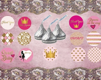 personalized hershey's kisses princess, Princess hershey's kisses, custom hershey's kisses stickers, Princess kisses favor labels