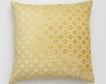 Yellow velvet geometric decorative pillow cover
