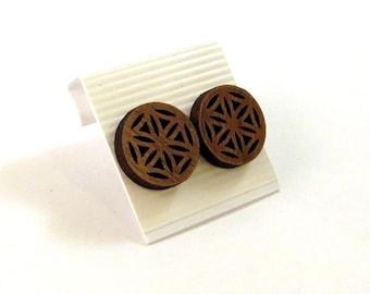 Flower of Life Sustainable Wooden Post Earrings - Medium - Walnut Wood Studs