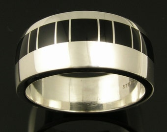 Black onyx wedding ring handmade in sterling silver by Hileman Silver Jewelry