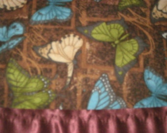 Flannel Brown Butterfly Pillowcase