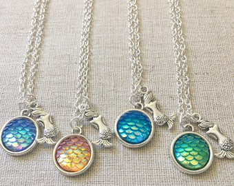 Mermaid Necklace, Mermaid Scale Necklace, Charm Necklace, Delicate Necklace, Dainty Necklace,Sea Charm, Birthday gift
