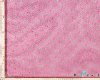 "Fuchsia Pink Point D'Esprit Mesh with Dot Fabric 2 Way Stretch Nylon 52-53"" 150478"