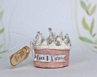Miniatur Kuchen Torte Nostalgischer Christbaumschmuck Wattefigur Ornament Spun Cotton