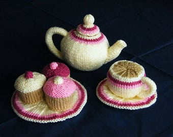 Download Toy Food Pattern to knit Tea Set Teapot Cup Saucer Plate Cupcake knitting pattern instant download