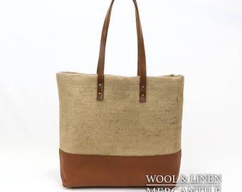 Jute Tote, Camel leather Bottom and Straps, Silver Studs