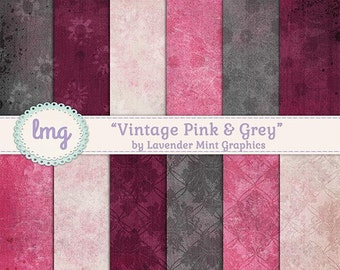 Pink and Grey Digital Paper, Scrapbook Paper, Vintage Paper, Shabby Chic, Rustic Paper, Vintage Background, Instant Download, Personal Use