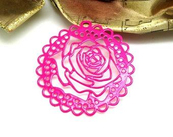 1 pendant print rose flower filigree stylized neon hot pink - 43 mm