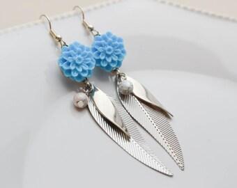 Earrings Pendants Flowers - resin - blue - Neon - leaves