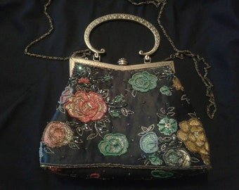 Evening Black Satin Embroidered clutch Floral beads embroidery party bag Ladies Opera Theater handbag Elegant female clutch Prom purse