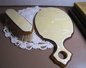 Vintage Vanity Items - Short Handle Mirror and Clothes Brush - Yellow Marble Look Celluloid or Bakelite