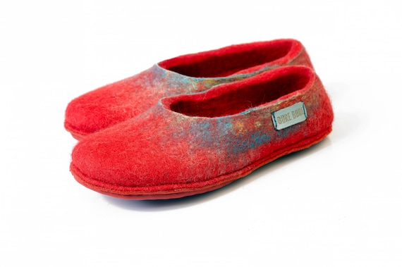 Handmade Slippers Women for Home slippers Europe Red for in slippers gift Wool slippers home Housewarming Coral her Hygge Women Felted wXqZnEPwOx