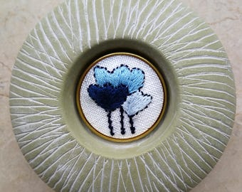 Embroidered Pin. Blue Organic