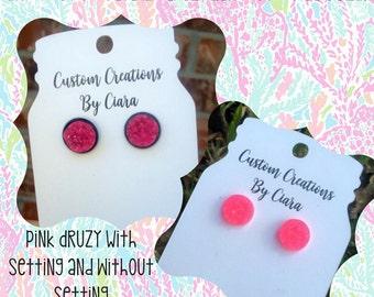 Hot Pink Druzy, Hot Pink Earrings, Druzy Studs, Faux Druzy, Handmade Druzy, Bride Gifts, Bridesmaids, Boutique Studs, Pink Studs, Awareness,