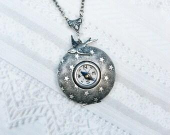 Silver Locket Necklace -  COMPASS LOCKET - Silver Stars Will Guide You - Jewelry by BirdzNbeez - Wedding Birthday Graduation Gift