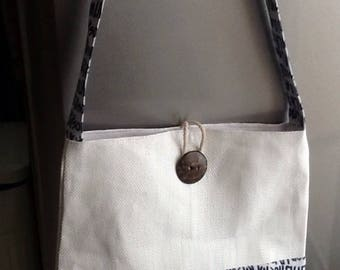 Tote for beach or summer white and Navy.