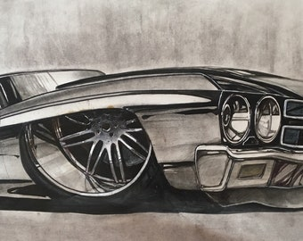 1970 Chevelle. Hot Rod Art 1970 Chevelle. 1970 Chevelle Sports Car. Automotive enthusiasts. American muscle car. Man cave decor. Garage art.