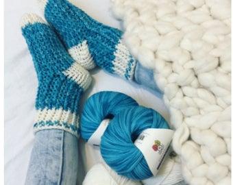 Ribbed Socks Crochet Pattern and Yarn Kit - Ribbed Socks Crochet Kit - Itty Bitty Ribbed Socks Yarn and Pattern Kit by Sentry Box Designs