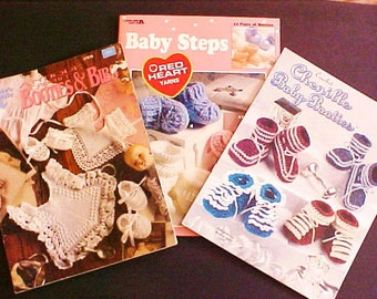 Lot of 3 Baby Booties Crochet Pattern Booklets Books Annies Attic Leisure Arts vintage