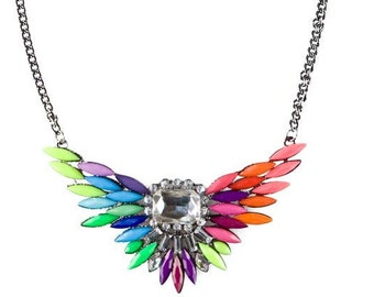 Colorful Dreamsicle Butterfly Statement Necklace
