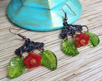 Red Flower Chandelier Earrings