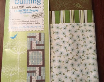 "Kit for 18x54"" Quilted Table Runner or Wall Hanging in Greens & Browns"