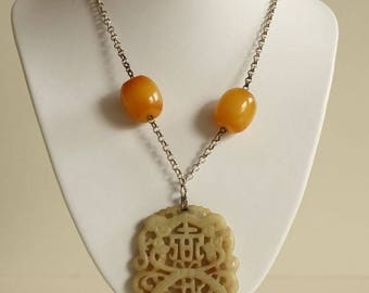Vintage Asian Necklace with Bakelite Butterscotch Beads and Hand Carved Jade Pendant