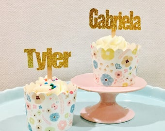 12ct Personalize cupcake topper, Customize name cupcake topper, Name cupcake topper, custom cupcake topper