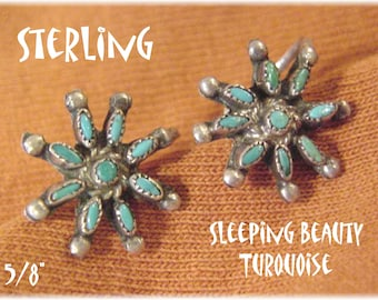 Sleeping Beauty Turquoise - Sterling Silver Star Petit Point Earrings - Needlepoint Blue Arizona Zuni Native American Indian - FREE SHIPPING