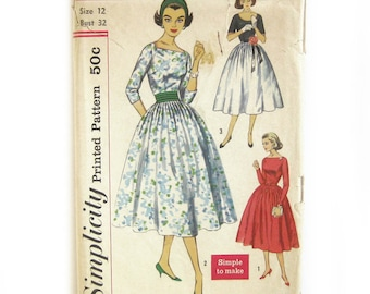 1950s Party Dress Pattern / Full Skirt Dress Square Neckline / Rockabilly Vintage Sewing Pattern / Mad Men Style / Simplicity 2338 / Size 12