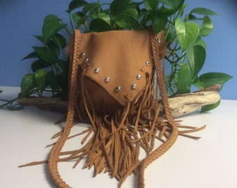 Leather Purse with Long Fringe, Shoulder Bag, Handmade Cowhide Bag, Fringed Leather Purse, Made in Canada