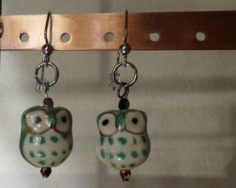 Green Ceramic Owl Earrings (E66)